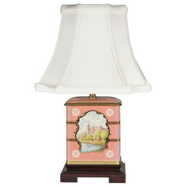 Custom Made Small Vintage Pastel Landscape Caddy Upcycled Lamp