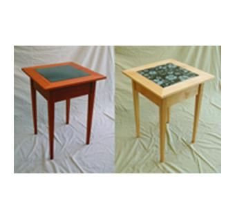 Custom Made Shaker End Tables With Granite Inlay