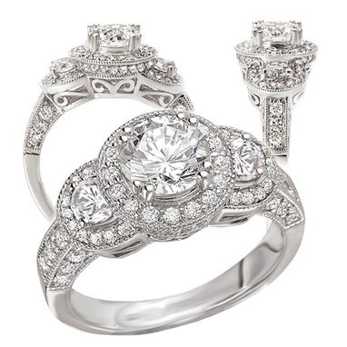 Custom Made 18k White Gold 3-Stone Engagement Ring Semi-Mount, Holds A 6.5mm Round Center