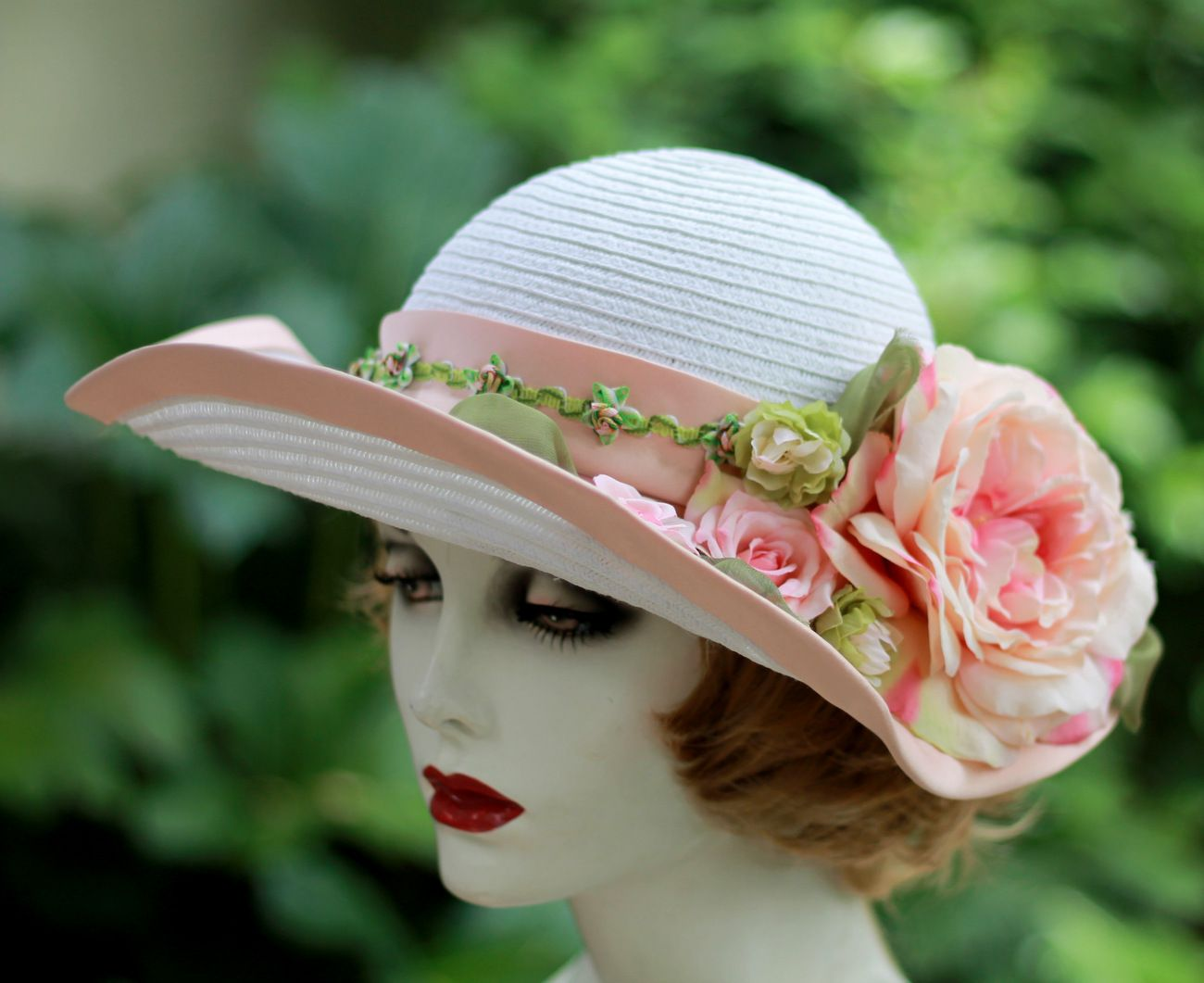 7bebf691a83 Custom Made Wide Brim White Straw Summer Peach Flowered Hat For Weddings  And Special Ocassions
