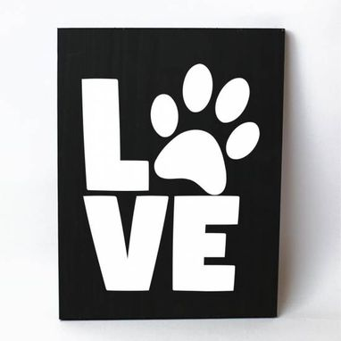 Custom Made Love Paw Print Solid Wood Sign Home Decor