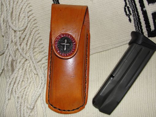 Custom Made Magazine Pouch With Carved Cross In A Circle