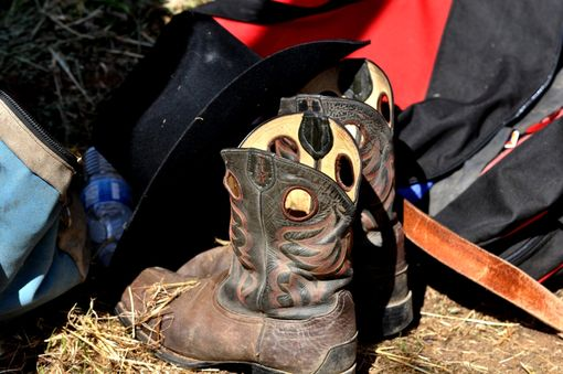 Custom Made Fine Art Photograph Of Rider's Boots At Rest