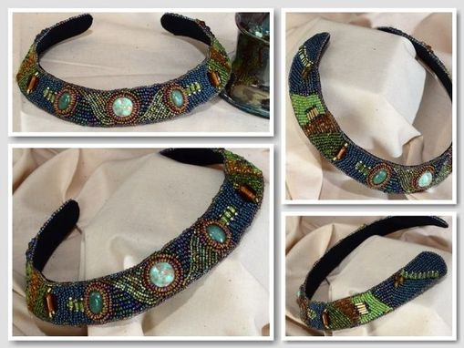 Custom Made Bead Embroidered Choker In Green And Blue