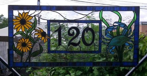Custom Made Crab And Black Eyed Susan Stained Glass Transom Window With House Number (Am-33)