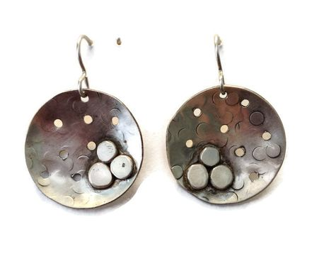 Custom Made Silver Pebble Earrings
