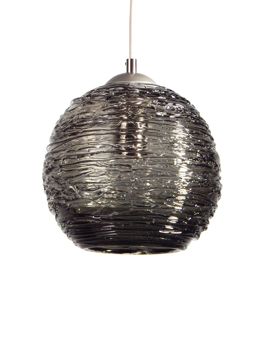 custom made smoke grey spun glass pendant light art glass pendant lighting