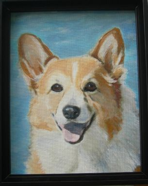 Custom Made Custom Dog Pet Portrait Of Dugan, A Pembroke Welsh Corgi