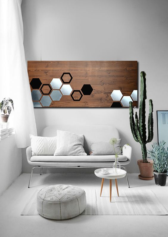 Mod Honeycomb 48x20 Wood Wall Art Metal Wall Art Home Decor Wall Decor Abstract Art