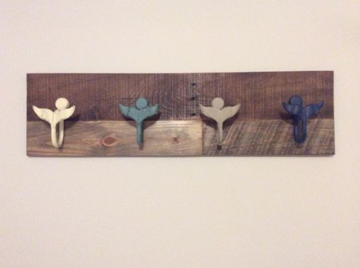 Custom Made Wooden Coat Rake With Whale Tails