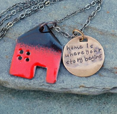 Custom Made Home Necklace Handstamped Brass Tag Pendant Enameled Jewelry Red And Black - Where Your Story Begins