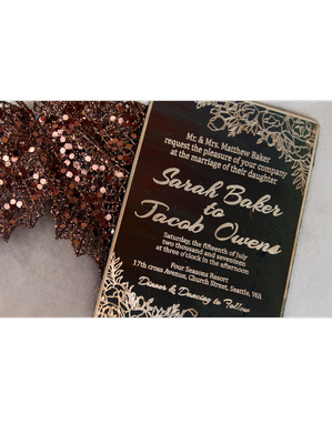 Custom Made Antiqued Rose Copper Metal Engraved Invitations