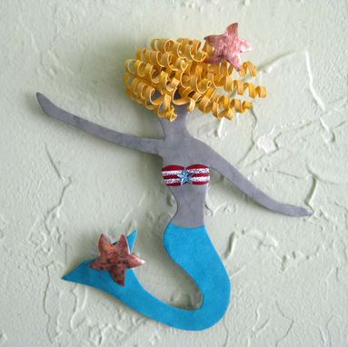 Custom Made Handmade Upcycled Metal Little Mermaid Wall Art Sculpture