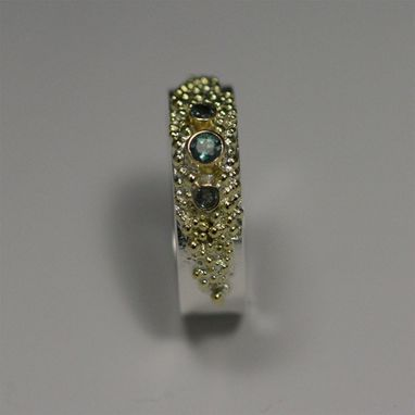 Custom Made 3 Stone Textured Ring In Sterling Silver, 14k Gold, & Alexandrite