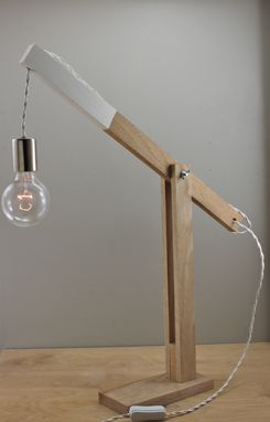 "Custom Made Modern ""Catapult"" Wood Desk Lamp"