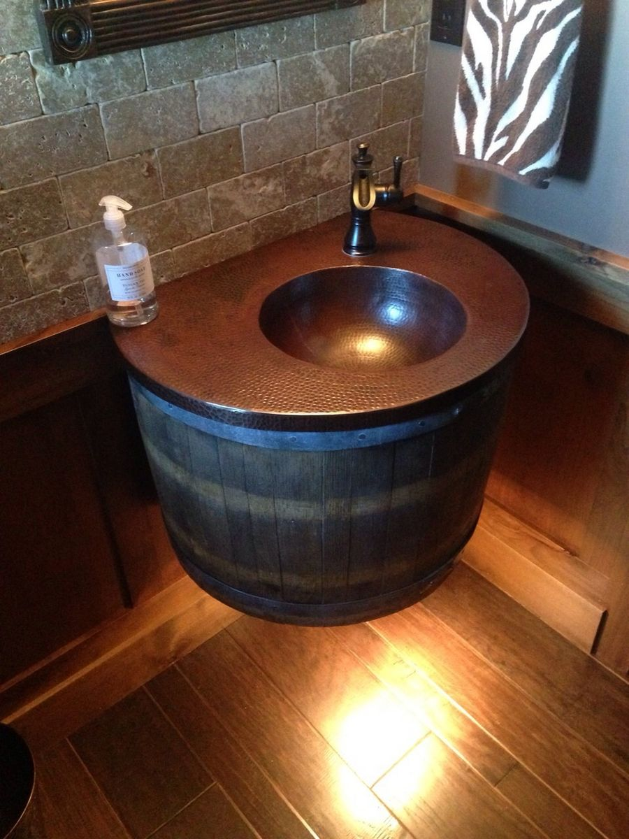Hand Crafted Wine Barrel Vanity With Light By Chicwatts Custommade Com