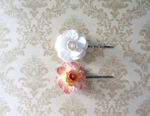 Custom Made Victorian-Inspired Hair Pin In Pink Rose