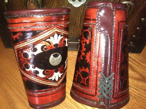 Custom Made Large Steampunk Cuff With Fur Lining Hand Made And Tooled Custom Fit Medieval Armor Larping Cowboy Cuff