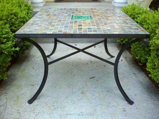 Strange Custom Made Slate Wrought Iron Table By On The Level Beatyapartments Chair Design Images Beatyapartmentscom
