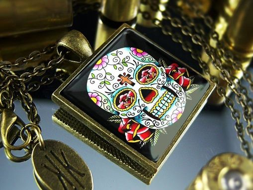 Custom Made Limited Edition Day Of The Dead Muertos Skull Antique Bronze Necklace 55-Bspn