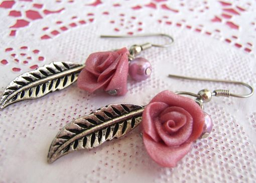 Custom Made Pink And Metal Feather Earrings - Rose Hand-Crafted In Polymer Clay - Beautifully Packaged