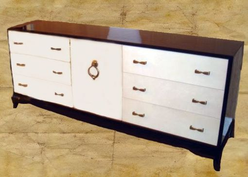 Custom Made Modern Sideboard In Parchment And Black Lacquer
