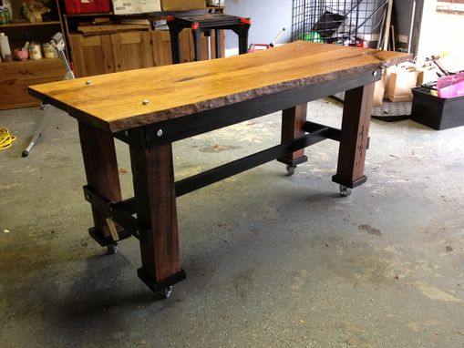 Hand Made Industrial Style Live Edge Cherrywood Slab Table