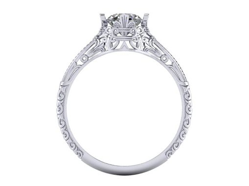 Custom Made Art Nouveau Diamond Engagement Ring 14k White Gold Filigree Solitaire Round Cushion 5.5mm 6.5mm