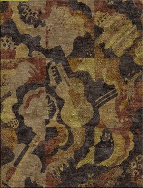 Custom Made Custom Hand Tufted Vintage Inspired Musical Instruments Rug