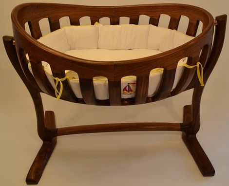Custom Made Heirloom, Hand Sculpted Walnut Cradle
