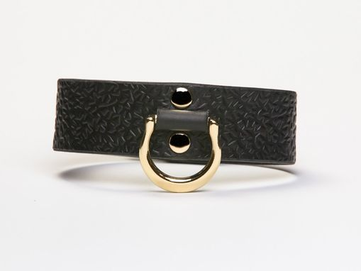 Custom Made Leather Bondage Collar - Black Latigo - Embossed With Thorns - Brass Lead Ring - Ivy Motif