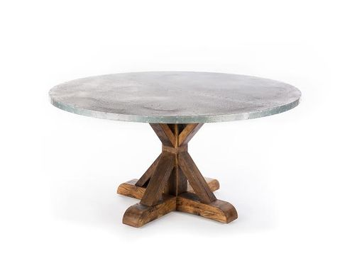 Custom Made Zinc Table Zinc Dining Table -  Round French Trestle Zinc Dining Table