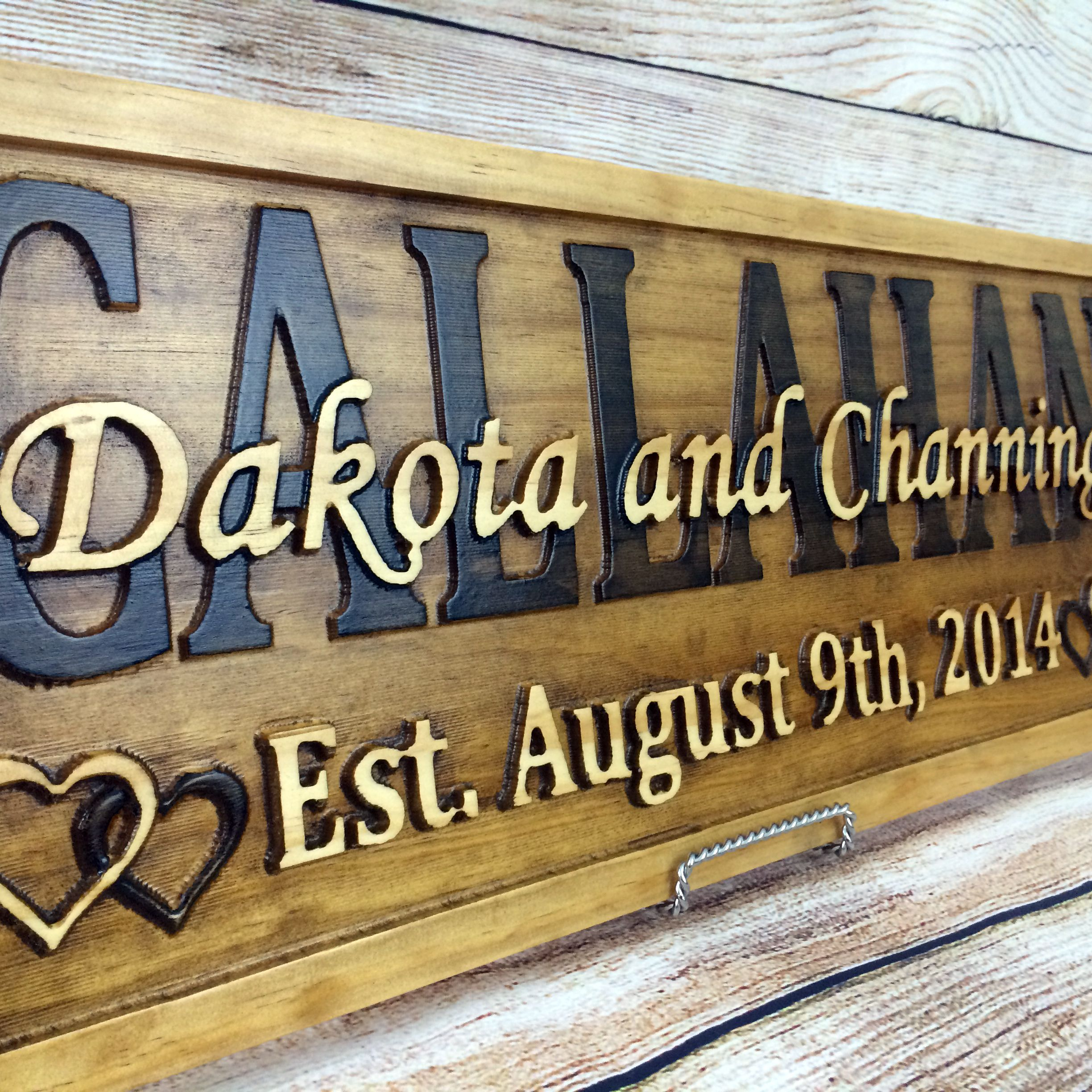 Custom Made Last Name Elished Sign Family Signs Wedding Gift Wood 5 Year Anniversary