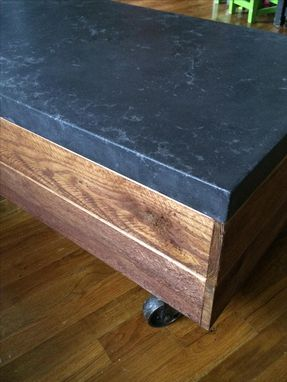 Custom Made Reclaimed Barn Wood Table Concrete Top Vintage Casters