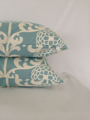 Custom Made Light Blue And White Floral Cotton Pillow Cover