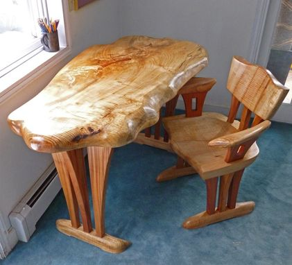 Custom Made Maple Slab Desk And Chair