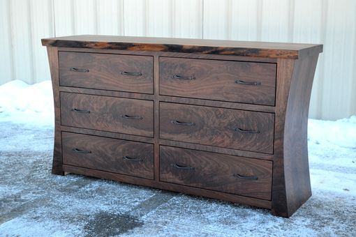 Custom Made Walnut Dresser With Curved Sides