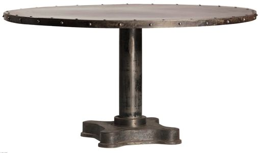 Custom Made Viktor Industrial Solid Metal And Cast Iron Dining Table