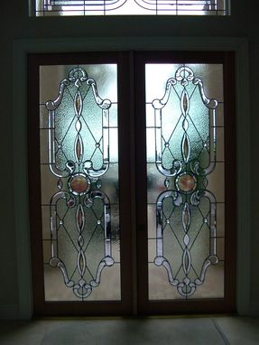 "Custom Made Stained Glass Combined With Beveled Glass To Create ""Architectural Jewelry"" As A Custom Entry."