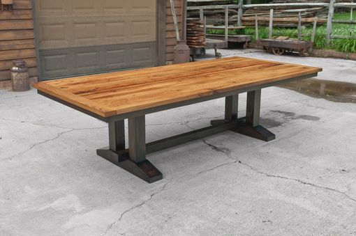 Custom Made Wormy Chestnut Trestle Dining Table