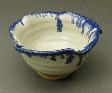 Custom Made Nuka Glazed Bowl With Cobalt Blue Stain, (Sku 60)