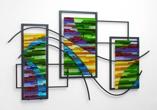 Custom Made Fused Glass And Metal Wall Art