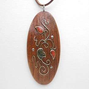 Wooden pendants wood pendant necklaces custommade wooden inlaid pendant aloadofball Image collections