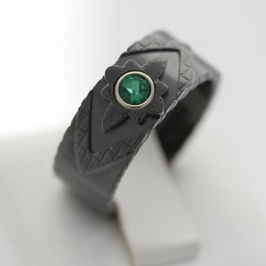 Custom Made Black Zirconium & Emerald Ring