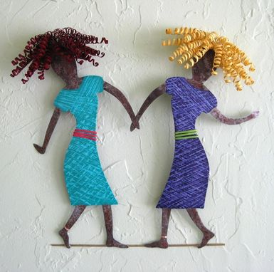 Custom Made Handmade Upcycled Metal Dancing Duo Wall Art Sculpture