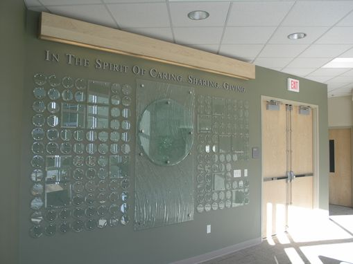 Custom Made Donor Wall For The Christine E. Lynn College Of Nursing.  Executed In A Combination Of Etched Beveled Glass, Mirror, Kiln Formed Glass And Stainless Steel