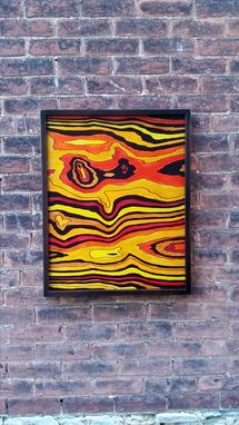 Custom Made Wood Dye On Wood Panel Abstract Painting