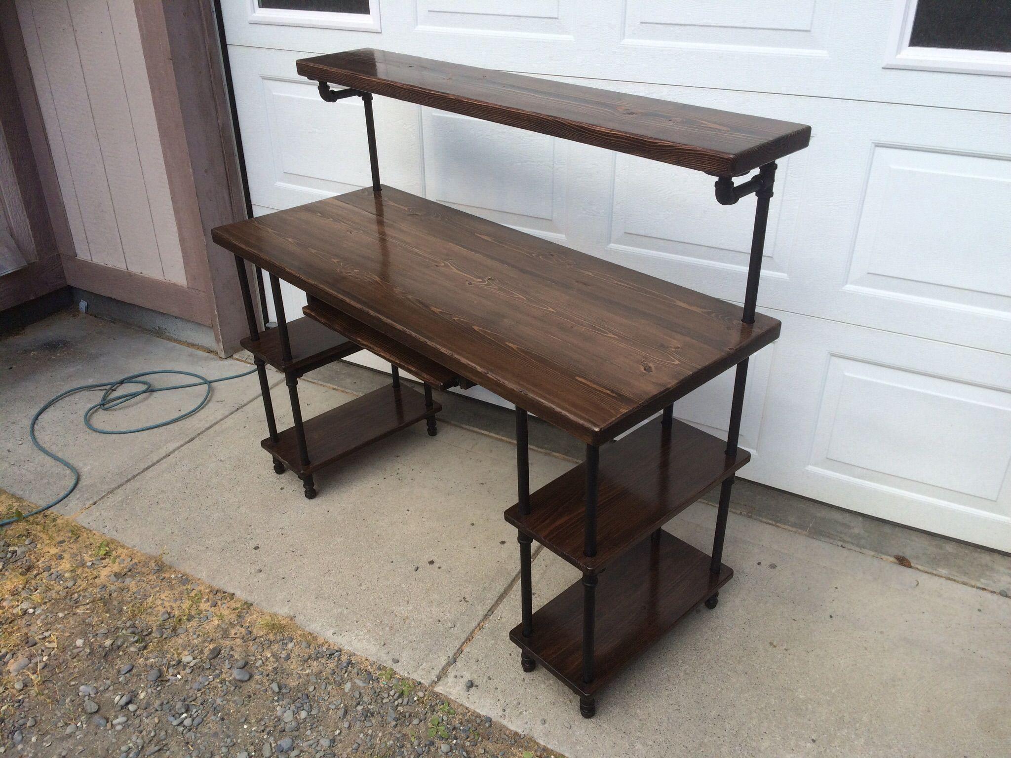 Hand Made Pipe & Wood Studio Desk by KS Custom Finish ...