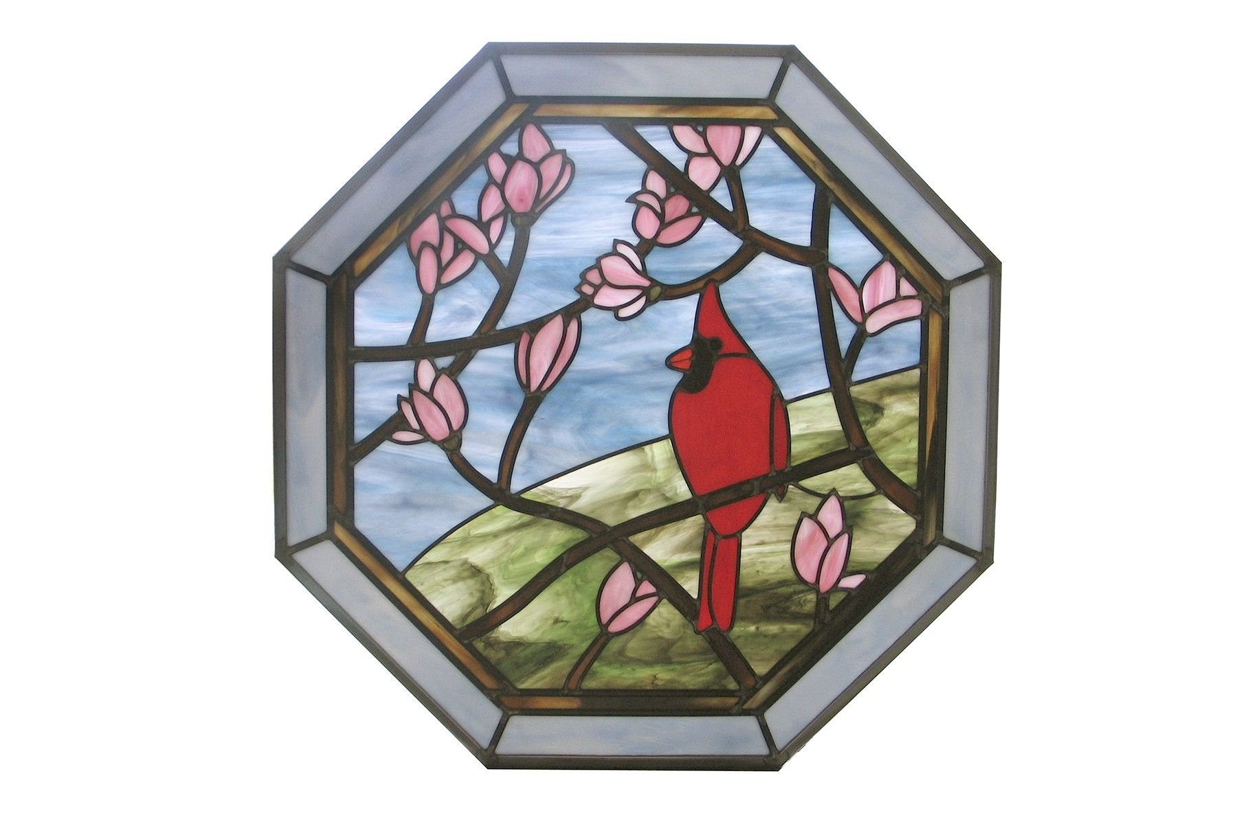 Custom Cardinal In Magnolia Tree Stained Glass Octagon by Painted