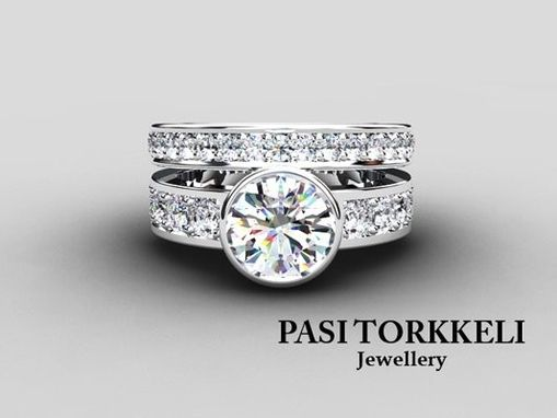 Custom Made Besezl Engagement Ring Set With White Sapphire Accent Stones